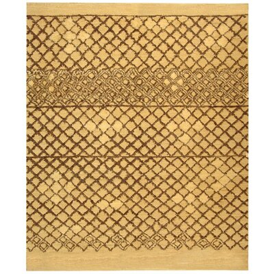 Princes Hand-Knotted Beige/Dark Gray Area Rug Rug Size: 6 x 9