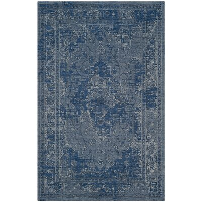 Port Laguerre Blue/Light Gray Area Rug Rug Size: 2' x 3'7
