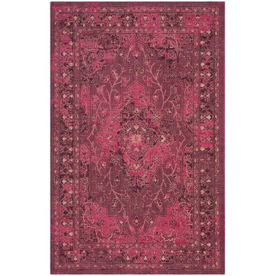 Port Laguerre Fuchsia/Black Area Rug Rug Size: Rectangle 2'6