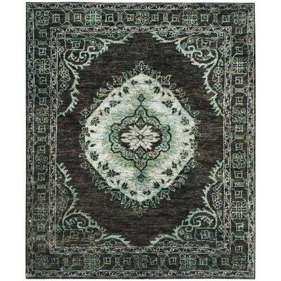 Velsen Hand-Knotted Chocolate/Aqua Area Rug Rug Size: Rectangle 5 x 8