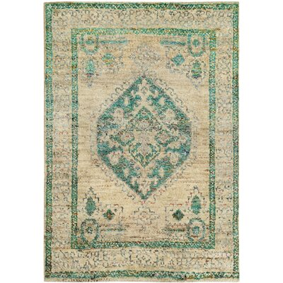 Velsen Hand-Knotted Beige/Emerald Area Rug Rug Size: Rectangle 4 x 6