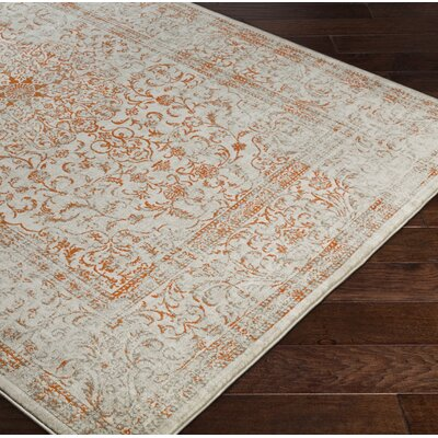 Anil Orange / Beige Area Rug Rug Size: 52 x 76
