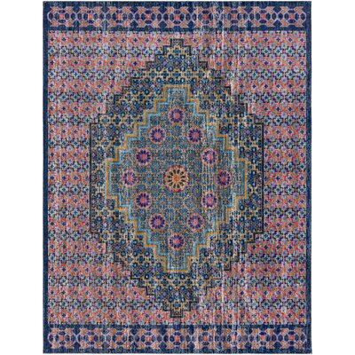 Fredonia Oriental Blue/Orange Area Rug Rug Size: 2 x 3