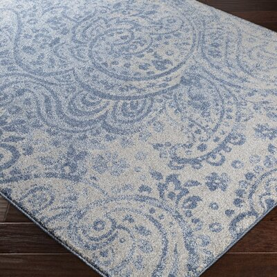 Brookside Gray/Blue Area Rug Rug Size: 53 x 76