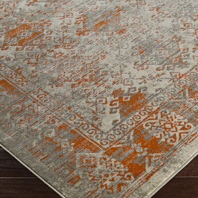 Anil Orange/Gray Area Rug Rug Size: 76 x 106