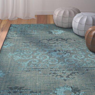 Port Laguerre Velvety Black/Turquoise Area Rug Rug Size: 8 x 11
