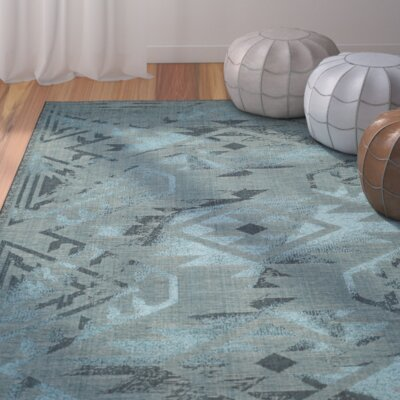 Port Laguerre Black & Turquoise Velvety Area Rug Rug Size: Rectangle 4' x 6'