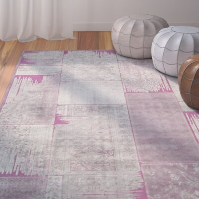 Saint-Michel Gray/Purple Area Rug Rug Size: Rectangle 51 x 76