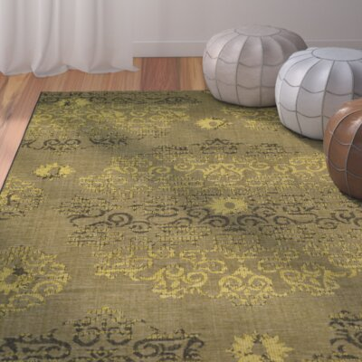 Port Laguerre Black/Green Velvety Area Rug Rug Size: 4 x 6
