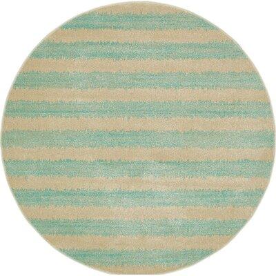 Randeep Green/Beige Area Rug Rug Size: Round 6'