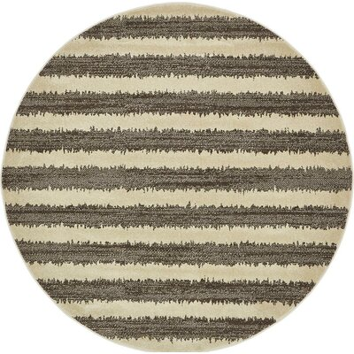 Randeep Brown/Beige Area Rug Rug Size: Round 6