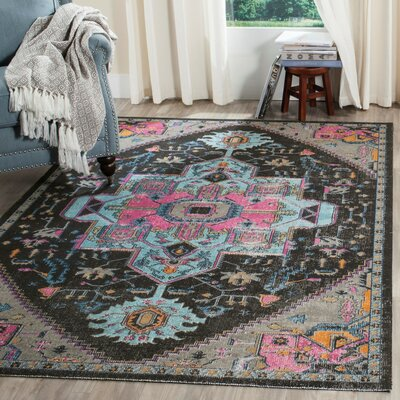 Chandni Anthracite/Light Gray Area Rug Rug Size: 22 x 6