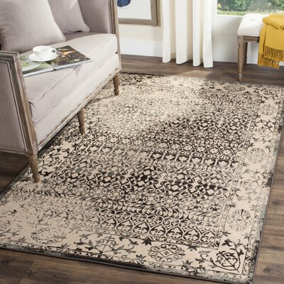 Gilbrae Cream/Dark Gray Area Rug Rug Size: 4 x 6