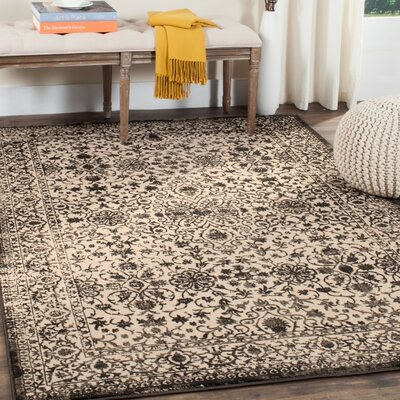 Gilbrae Creme/Black Area Rug Rug Size: Rectangle 4 x 6