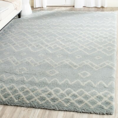 Cosima Hand-Knotted Blue/Ivory Area Rug Rug Size: Rectangle 8 x 10