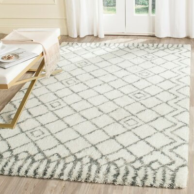 Cosima Hand-Tufted Ivory/Gray Area Rug Rug Size: Rectangle 8 x 10