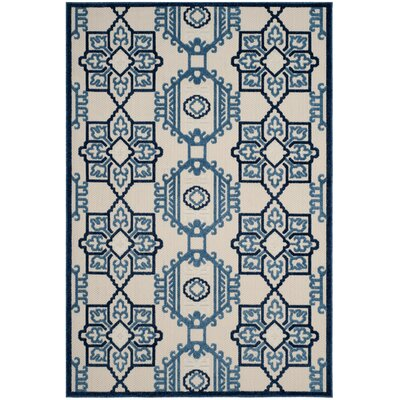 Reynolds Ivory/Blue Area Rug Rug Size: Rectangle 53 x 77
