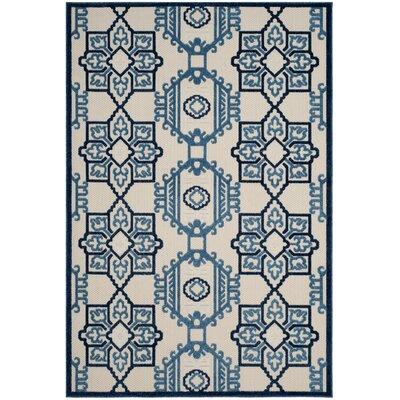 Reynolds Ivory/Blue Area Rug Rug Size: 53 x 77