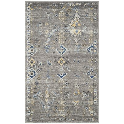 Ameesha Dark Gray/Yellow Area Rug