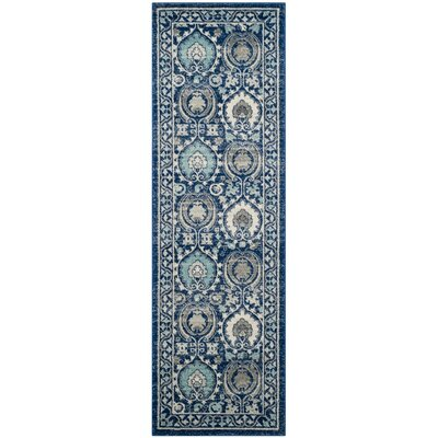 Aegean Blue/Ivory Area Rug Rug Size: Rectangle 51 x 76