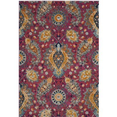 New Caledonia Pink/Gold Area Rug Rug Size: 51 x 76