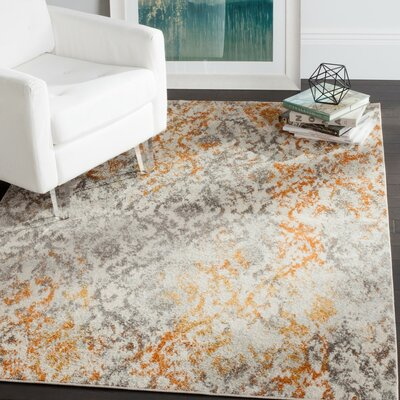 Grieve Gray/Orange Area Rug Rug Size: Round 5