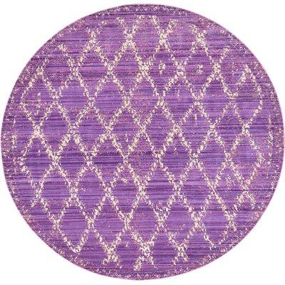 Rune Purple Area Rug Rug Size: Round 6