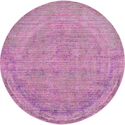 Rune Purple Area Rug Rug Size: Round 6'