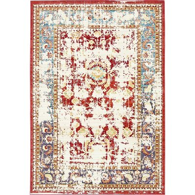 Rune Red Area Rug Rug Size: 6' x 9'