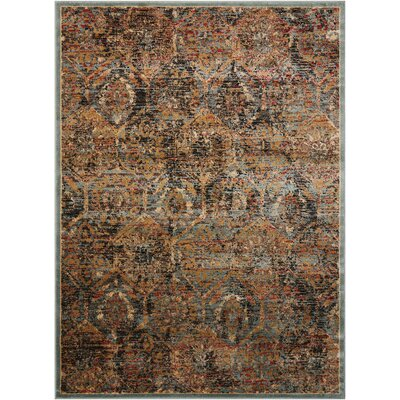 Anders Blue/Orange Area Rug Rug Size: 53 x 73
