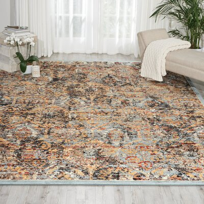 Shimer Blue/Orange Area Rug Rug Size: 67 x 96