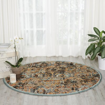 Shimer Blue/Orange Area Rug Rug Size: Round 53