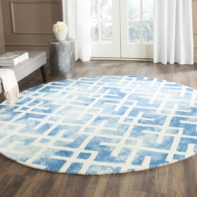 Castries Hand-Tufted Blue/Ivory Area Rug Rug Size: Round 5 x 5