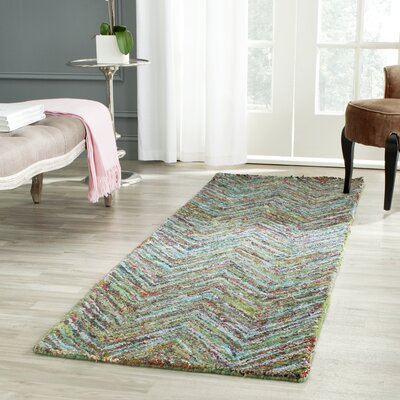 Sergio Hand-Tufted Multi/Blue Area Rug Rug Size: Runner 23 x 12