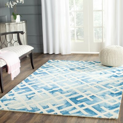 Castries Hand-Tufted Blue/Ivory Area Rug Rug Size: Square 5 x 5