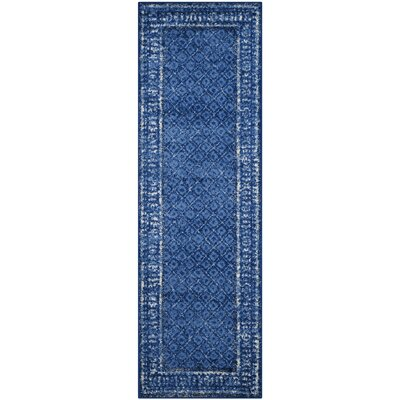 Eugenia Light Blue/Dark Blue Area Rug Rug Size: Runner 26 x 16