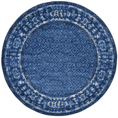 Vanek Light Blue/Dark Blue Area Rug Rug Size: Round 4