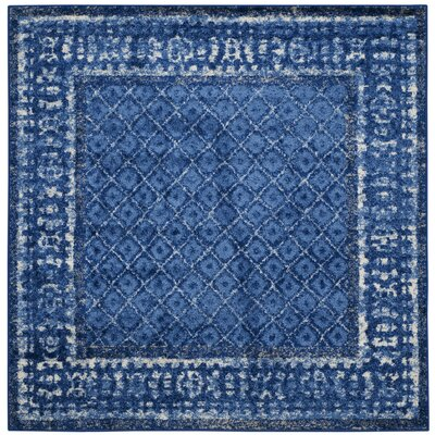 Eugenia Light Blue/Dark Blue Area Rug Rug Size: Square 4