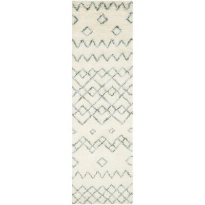 Lockheart Geometric Hand-Tufted Beige/Blue Area Rug Rug Size: Runner 23 x 8