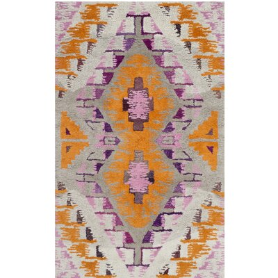 Lockheart Hand-Tufted Orange/Purple Area Rug Rug Size: 4 x 6
