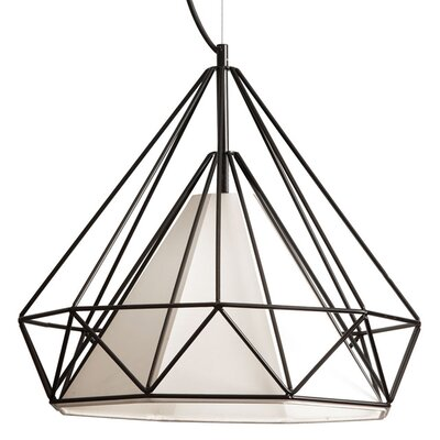 Desirae 1-Light Foyer Pendant Shade Color: Red, Size: 15 H x 14 W