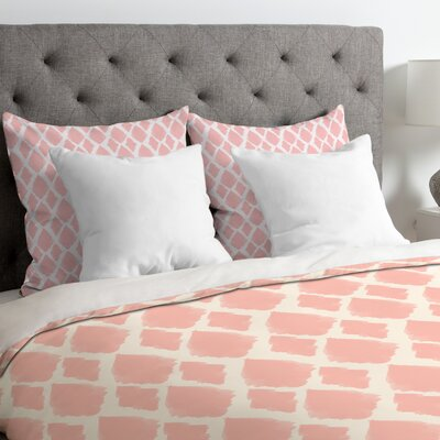 Nadia Blushed Ikat Duvet Cover Size: King