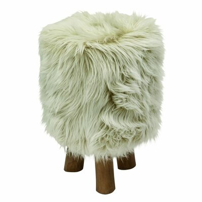 Arrowsic Wood/Faux Fur Round Stool Color: White