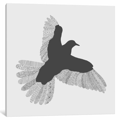 'Bird on Grey' Painting Print on Wrapped Canvas Size: 12