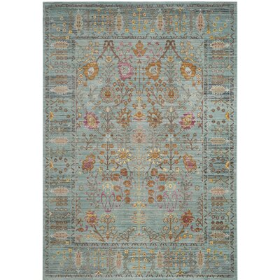 Privette Power Loom Stone Blue/Gray Area Rug Rug Size: Rectangle 4 x 6