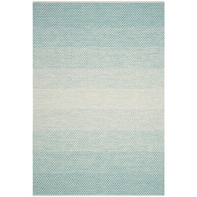 Saleem Hand-Woven Turquoise/Ivory Area Rug Rug Size: Round 6