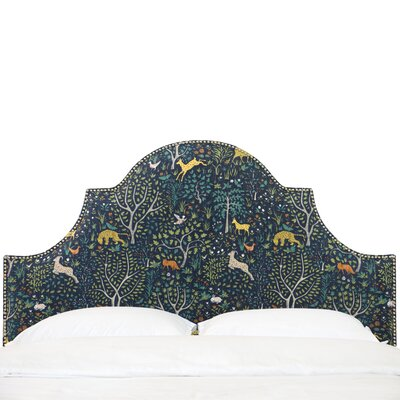 Star Nail Button High Arch Notched Upholstered  Panel Headboard Size: Twin