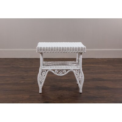 Carvell Rattan End Table Color: White
