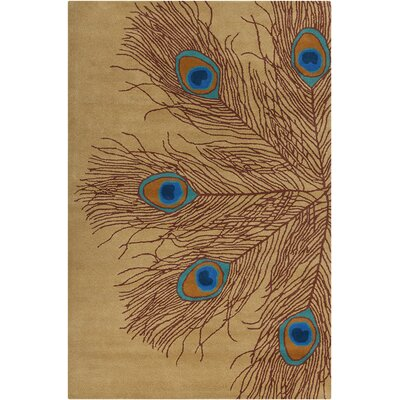 Inara Hand Tufted Wool Brown/Blue Area Rug Rug Size: 5' x 7'6
