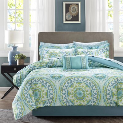 Taddart Comforter Set Size: King, Color: Aqua